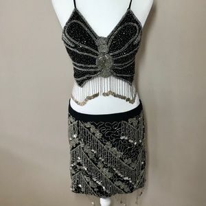 Other - Black Silver Belly Dance Costume Outfit Beads/Coin